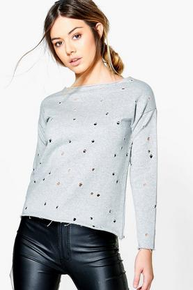 Petite Emma Distressed Raw Hem Sweat