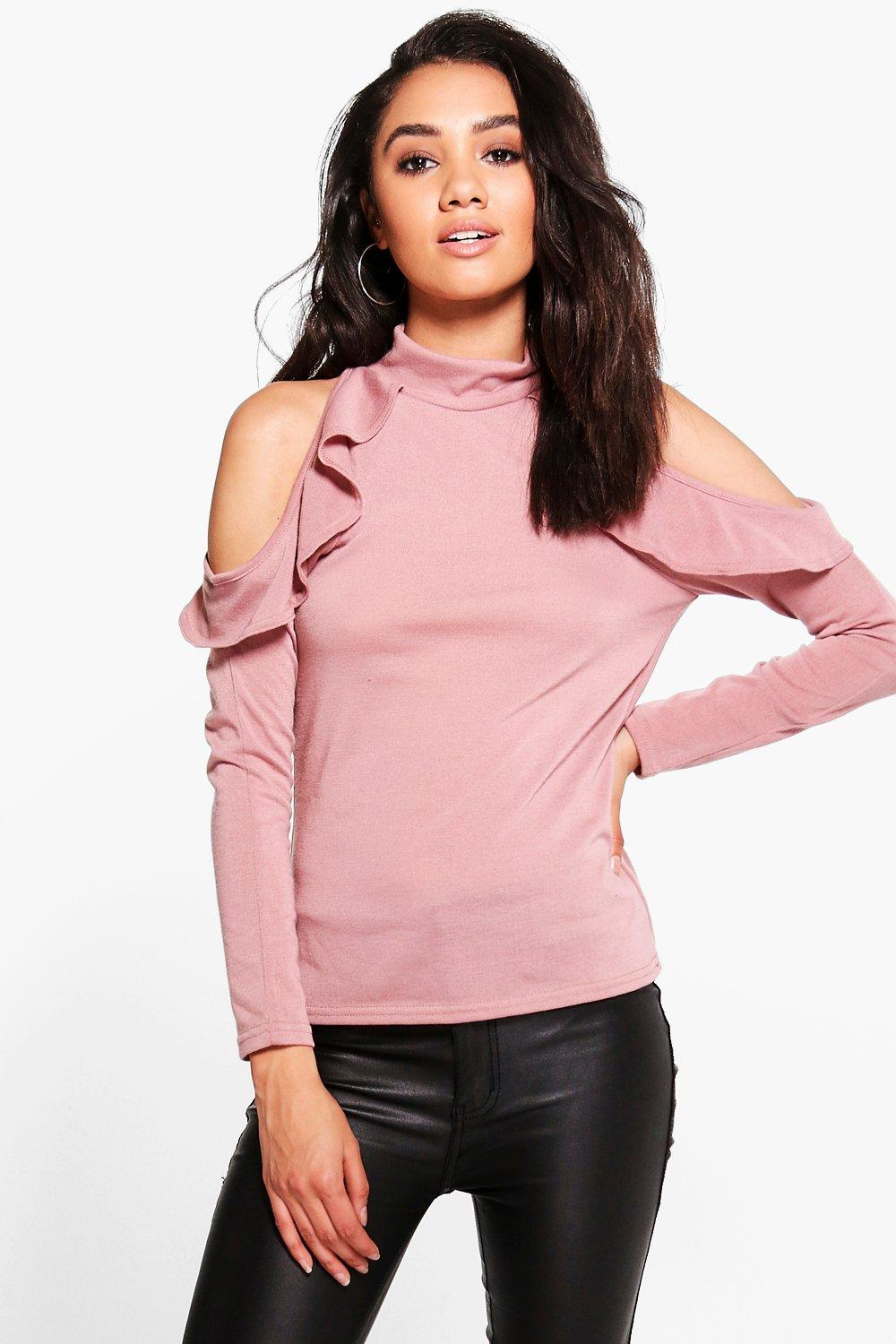 Petite May Cold Shoulder Ruffle High Neck Top