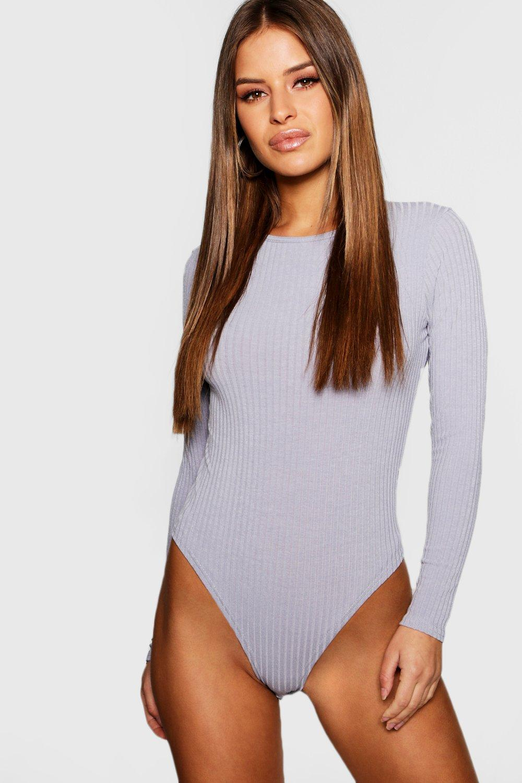 Womens Petite Body aus Rippstrick - grey marl - 38, Grey Marl - Boohoo.com