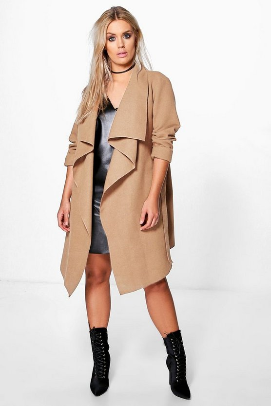 Plus Jourdan Wool Look Wrap Front Coat