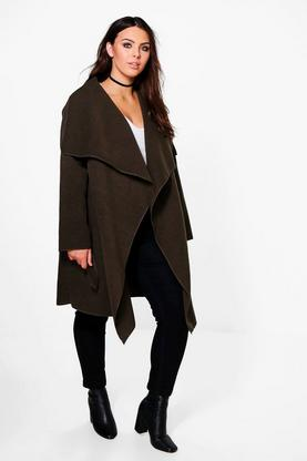Plus Rosie Wool Look Wrap Front Coat