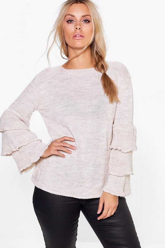 Plus Cesca Ruffle Sleeve Jumper