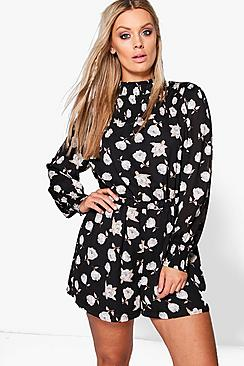 Plus Millie Floral High Neck Playsuit