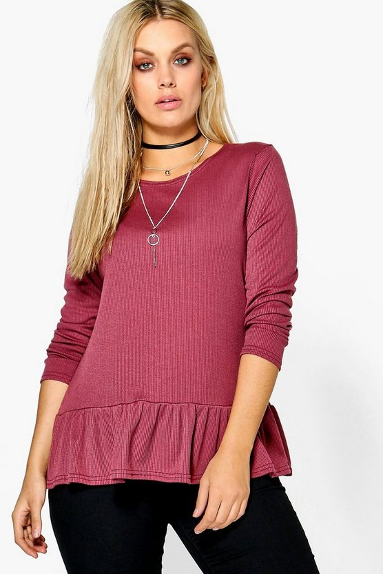 Plus Issy Soft Ribbed Ruffle Hem Jumper
