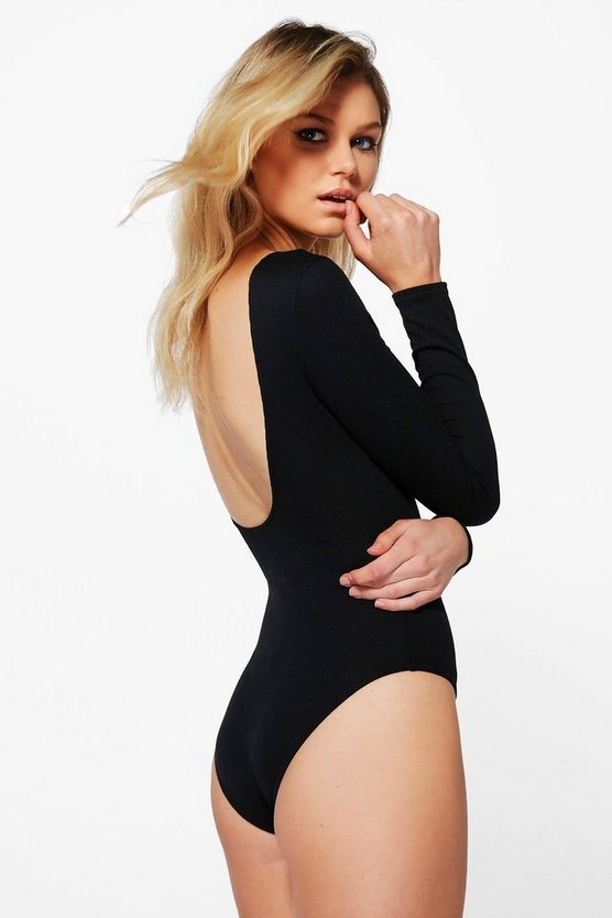 Petite Kady Scoop Back Knitted Long Sleeve Bodysuit