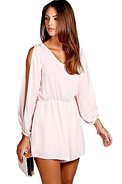 Petite Bella Split Sleeve Crepe Playsuit