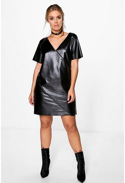 Plus Khloe Faux Leather V Neck Shift Dress