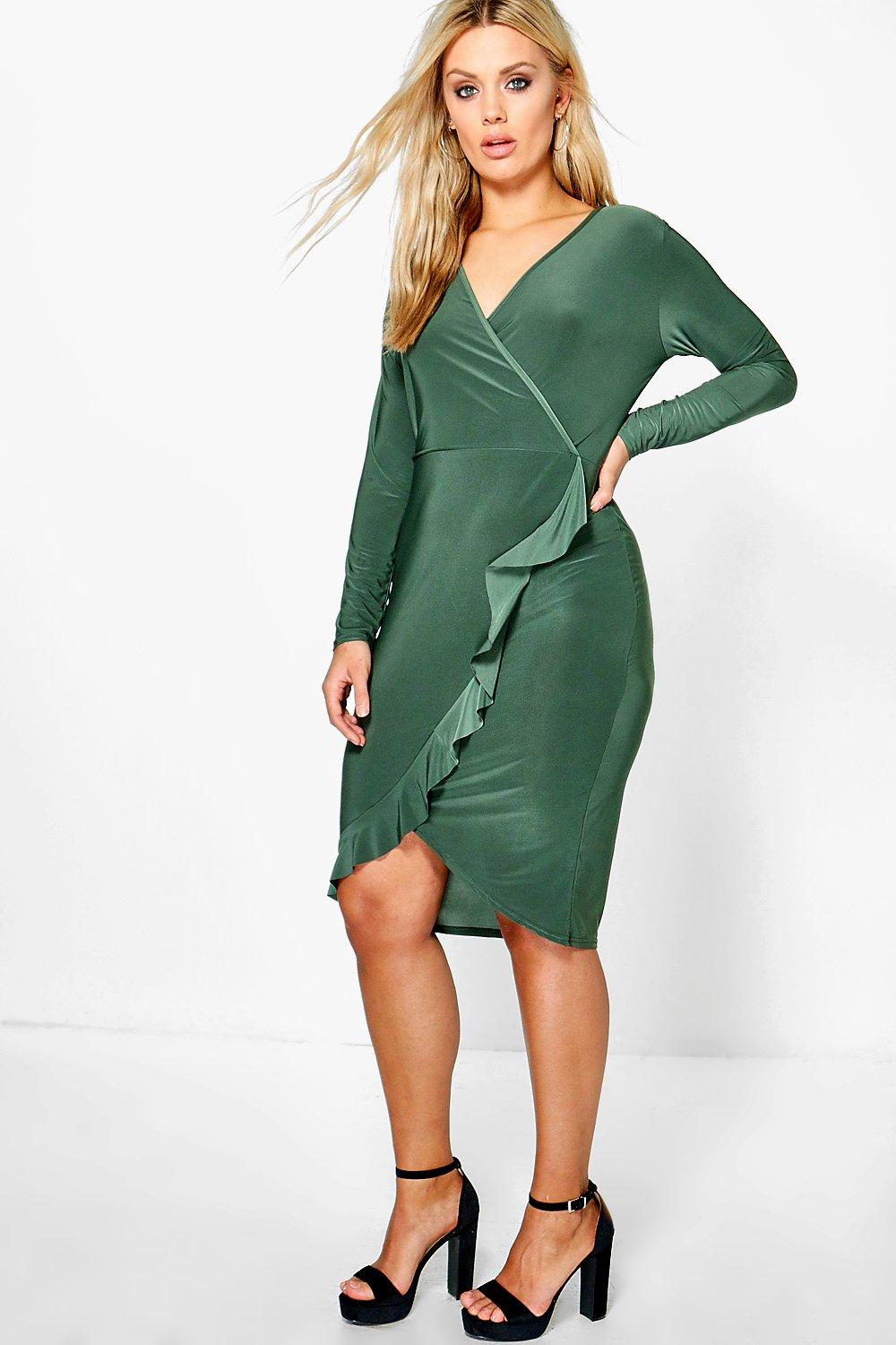 Plus Nadia Ruffle Detail Wrap Front Dress