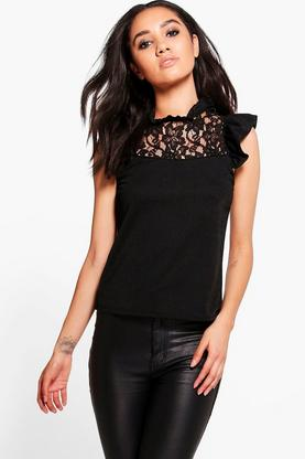 Petite Kayleigh Frill Lace Detail Top