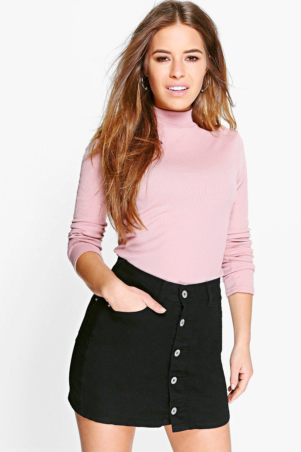 Petite Alex Ribbed Roll Neck Top