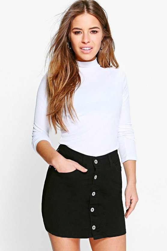 Petite Ribbed Roll Neck Top by Boohoo