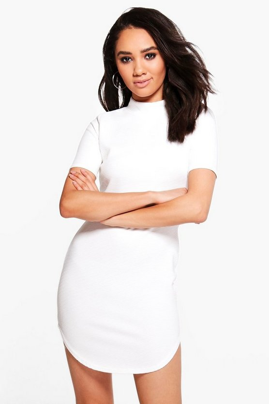 Petite Shayla Ribbed Curved Hem Bodycon Dress