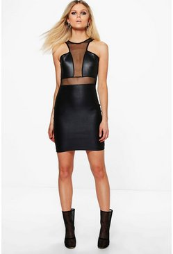 Petite Riley Mesh Panel PU Dress