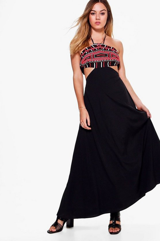 Petite Yasmine Embroidered Cut Out Maxi Dress