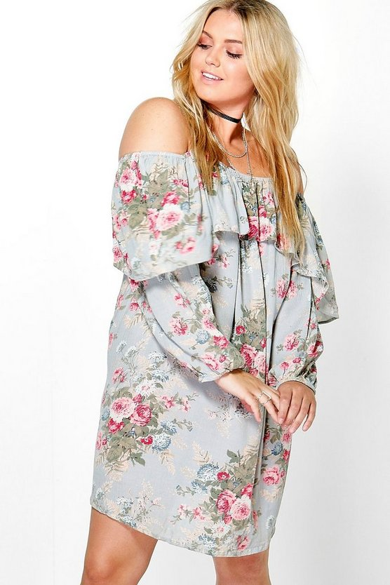 Plus Alice Floral Open Shoulder Dress
