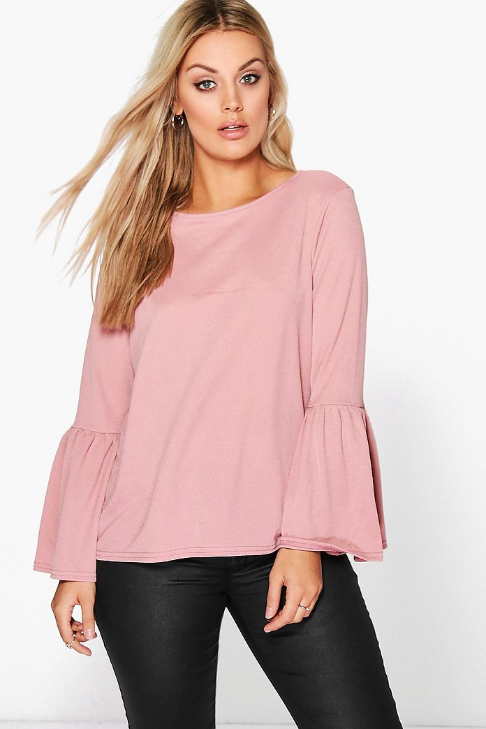 Plus Tara Crepe Frill Sleeve Top