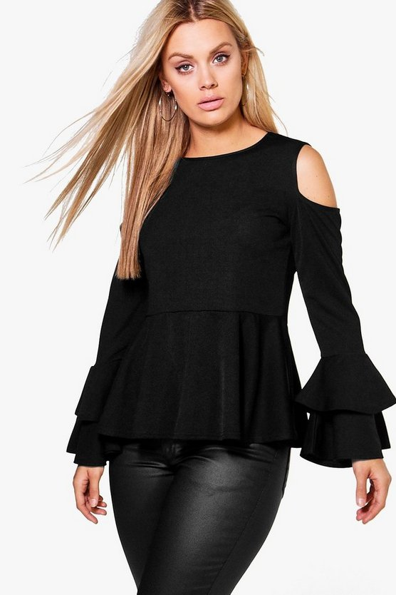 Plus Evelyn Ruffle Sleeve Peplum Top