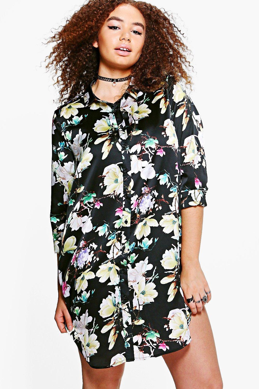 boohoo plus sadie robe chemise satin e fleurs pour femme ebay. Black Bedroom Furniture Sets. Home Design Ideas