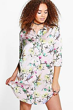 Plus Sadie Floral Satin Shirt Dress