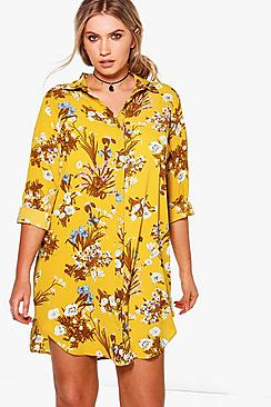 Plus Julia Floral Printed Shirt Dress