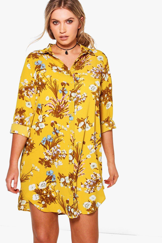 boohoo plus julia robe chemise imprim floral pour femme ebay. Black Bedroom Furniture Sets. Home Design Ideas