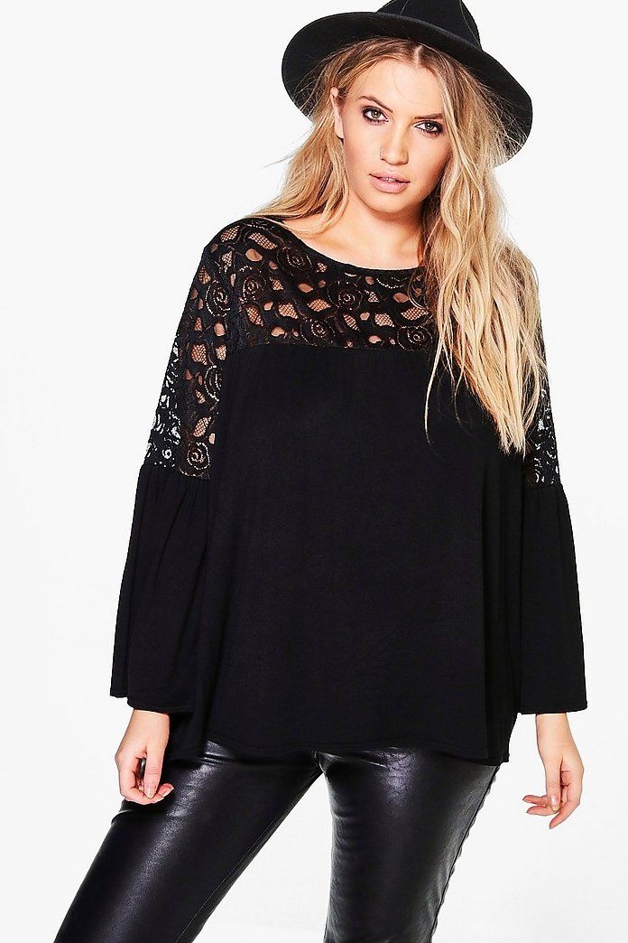Plus Maisie Lace Insert Swing Top