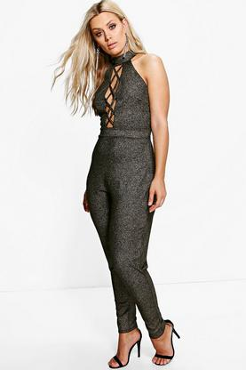 Plus Paige Metallic High Neck Lace Up Jumpsuit