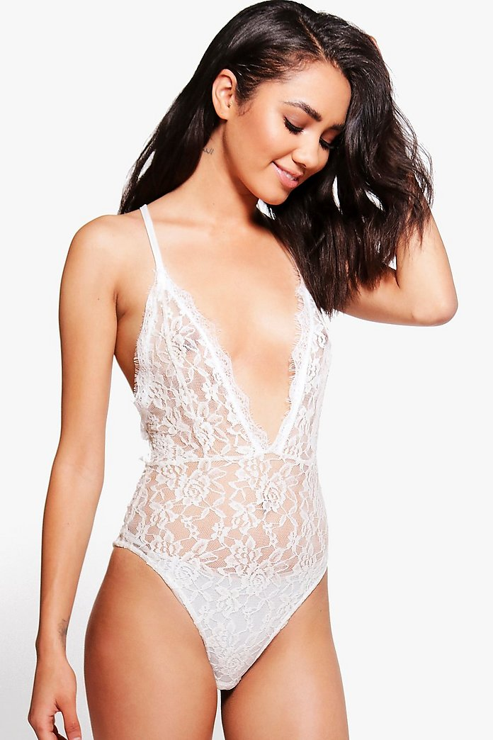 Petite Skye Strappy Detail Plunge Lace Body