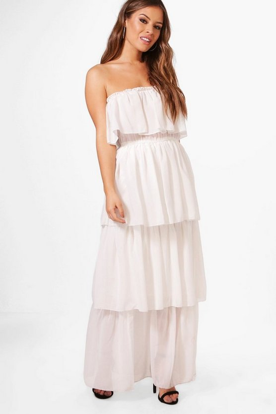 Petite Boutique Gigi Bandeau Ruffle Maxi Dress