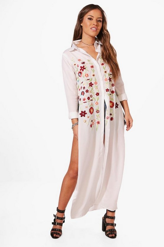 Petite Rose Embroidered Front Maxi Shirt