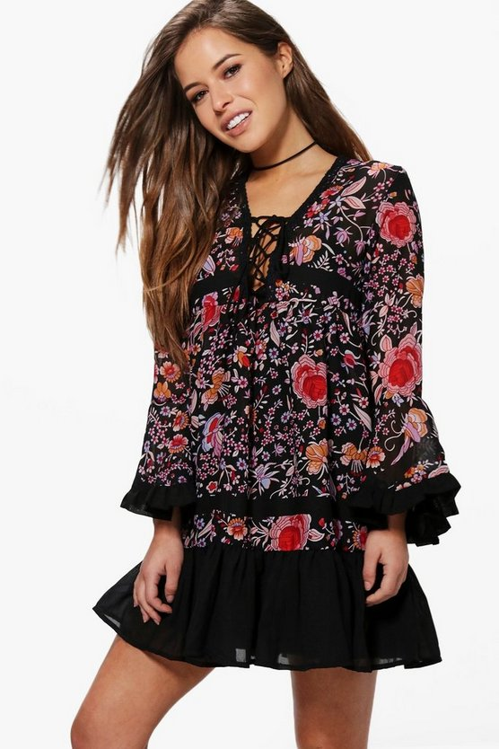 Petite Steph Lace Up Flute Sleeve Printed Dress