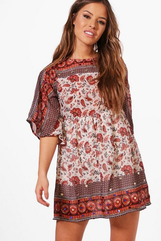 Petite Boutique Charlotte Sequin Printed Mini Dress