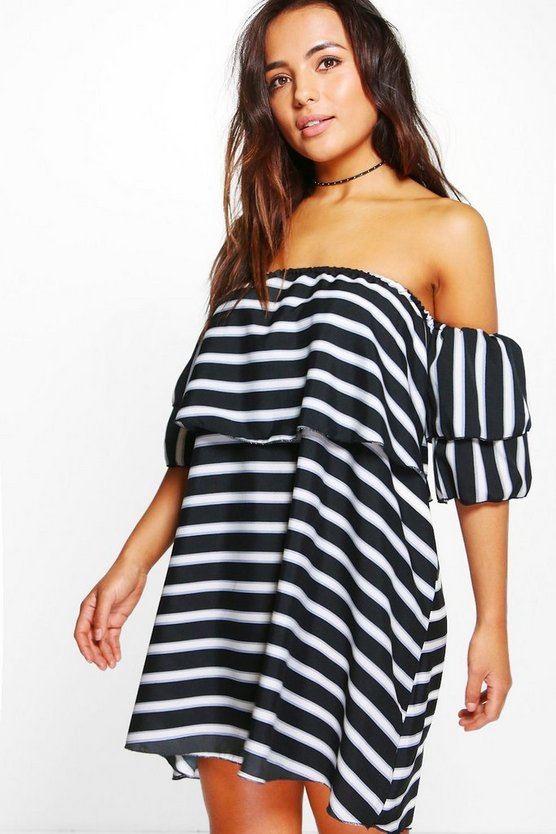 Petite Marissa Stripe Frill Off Shoulder Dress