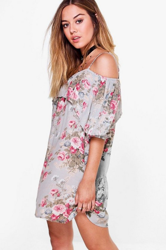 Petite Holly Floral Open Shoulder Dress
