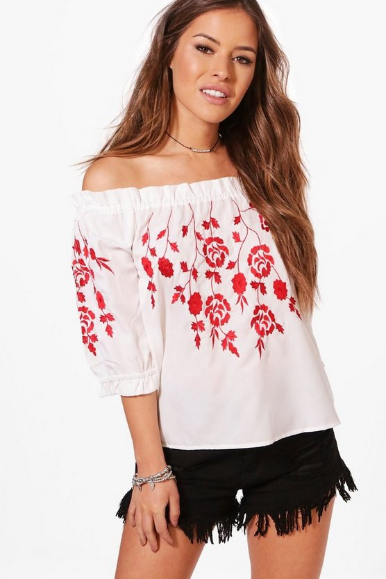 Petite Rachel Embroidered Off Shoulder Top
