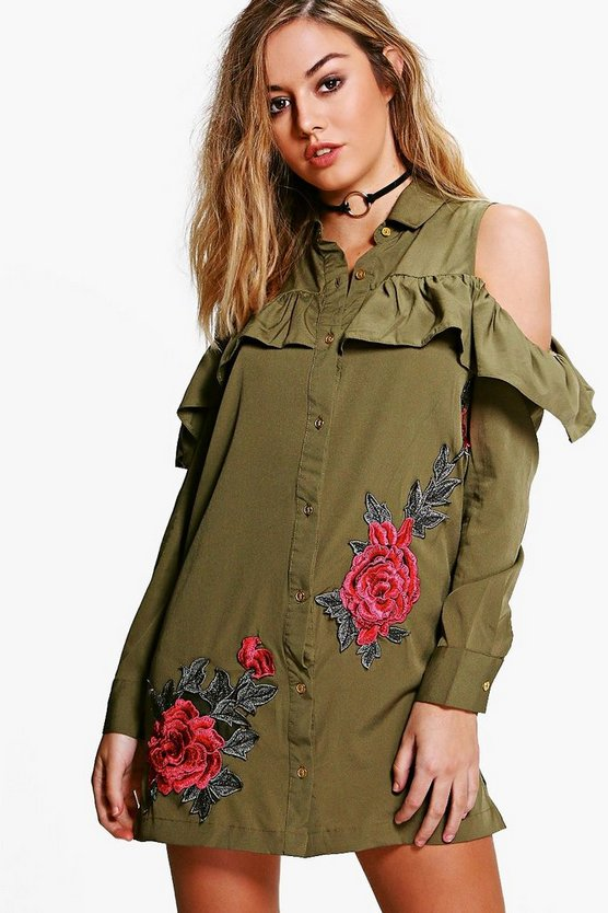 Petite Kayla Embroidered Ruffle Off Shoulder Shirt Dress