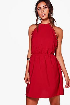 Petite Poppy Pom Pom Trim Woven Sun Dress