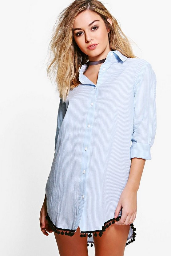 Petite Grace Pom Pom Detail Stripe Shirt Dress