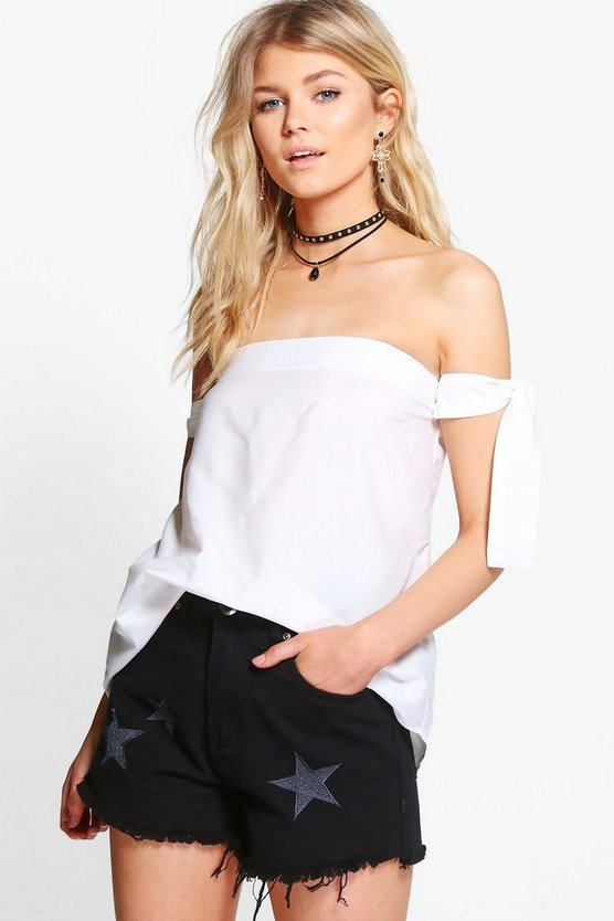 Petite Georgia Off The Shoulder Tie Woven Top