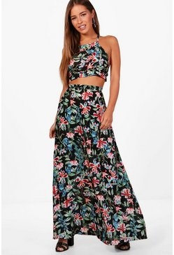 Petite Imogen Halter Neck Top Maxi Skirt Co-ord