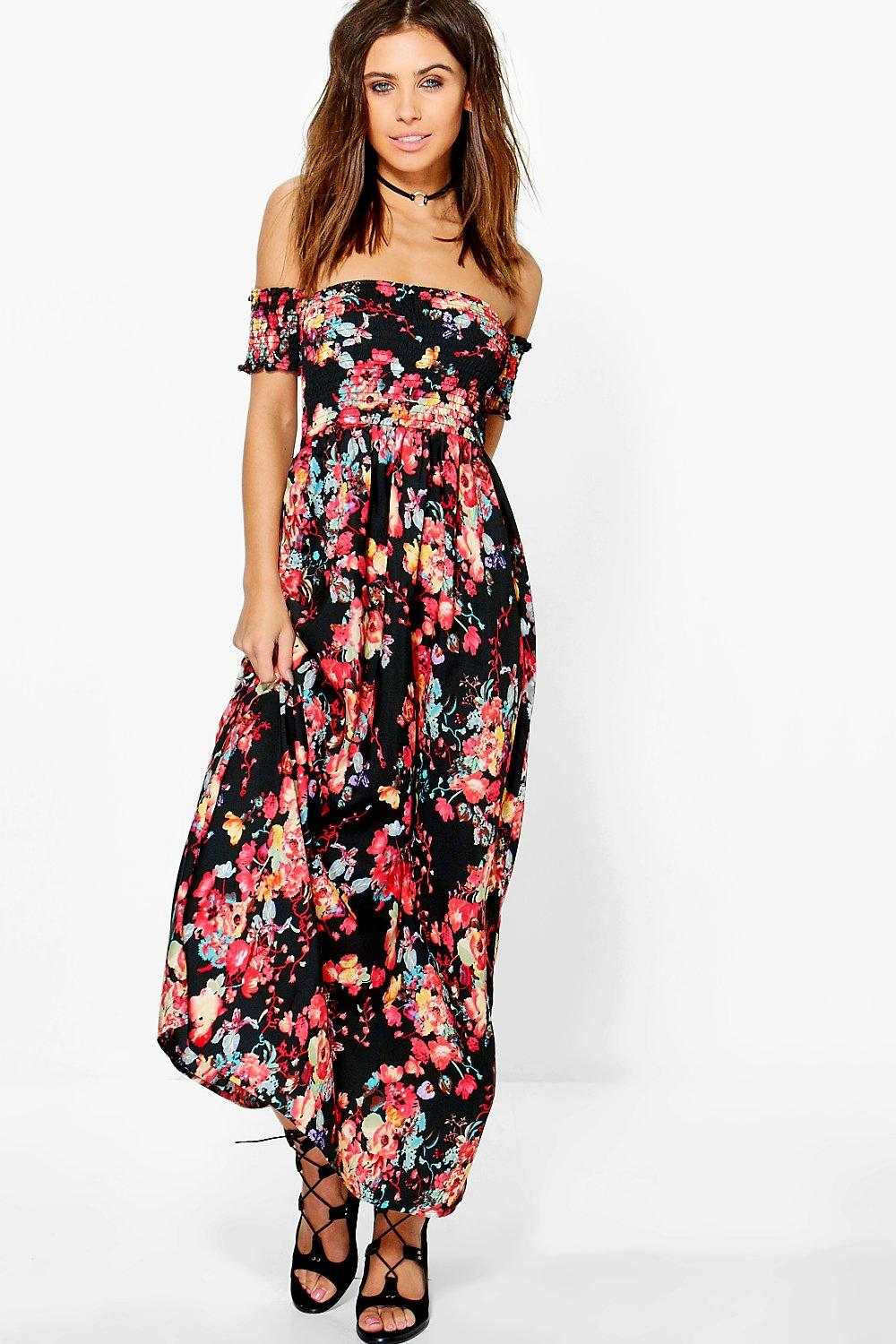 Petite Sophie Off The Shoulder Shirred Maxi Dress | Boohoo