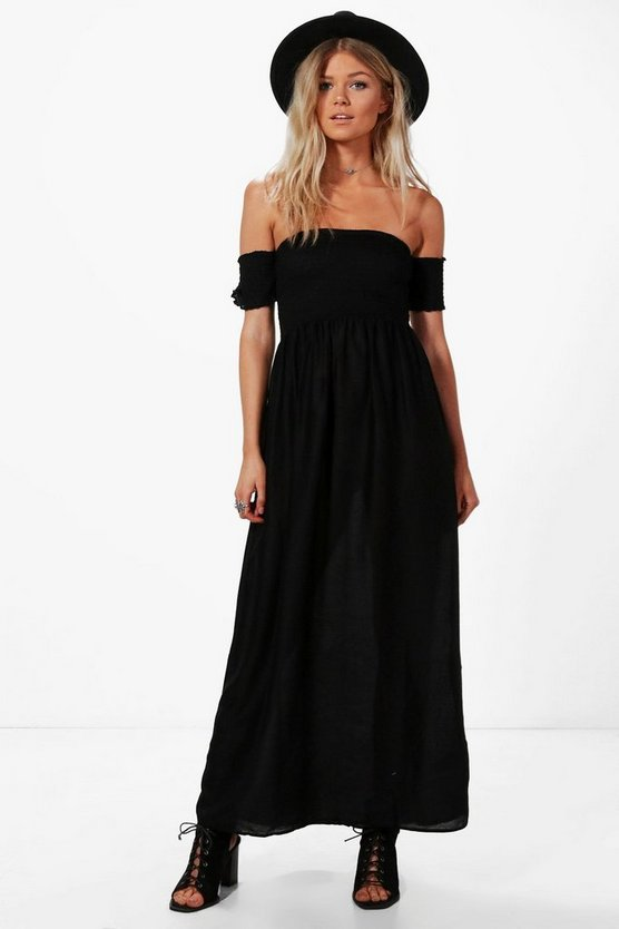 Petite Bryony Off The Shoulder Shirred Dress
