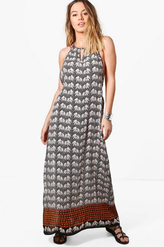 Petite Taylor Elephant Print Open Back Maxi Dress