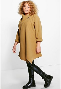 Plus Jayne Wrap Drape Collar Coat