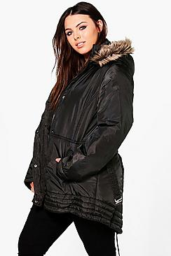 Plus Hollie Faux Fur Trim Parka Coat