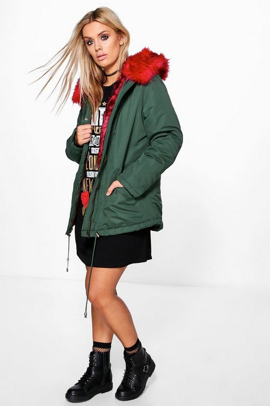 Plus Ciara Contrast Faux Fur Parka Coat