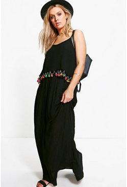PLus Tara Pom Pom Trim Maxi Dress