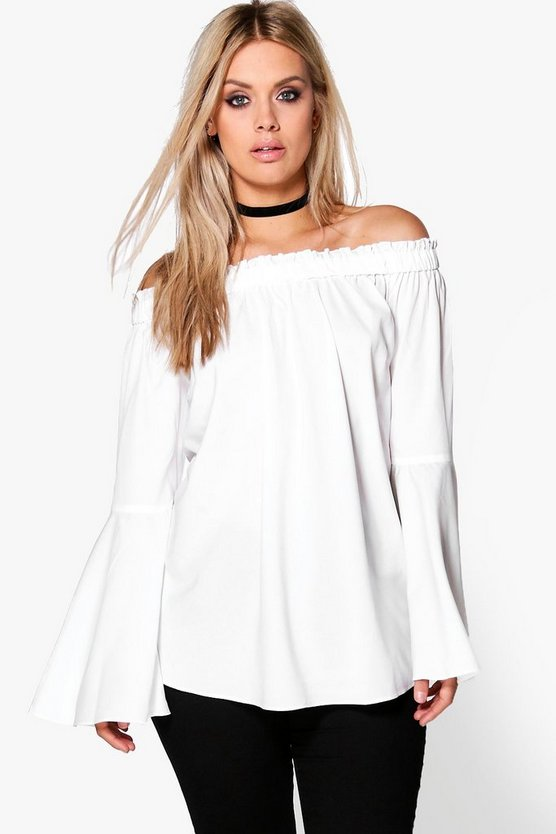 Plus Selena Woven Frill Off The Shoulder Top