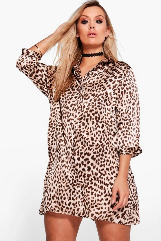 Plus Lucy Leopard Print Shirt Dress