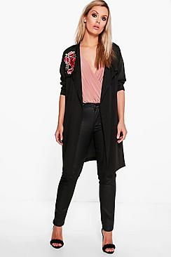 Plus Olivia Embroidered Duster Jacket